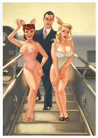 Rayon : Affiches, Série : Pin Up Wings, Pin Up : Duo (21 x 29,7 cm) (Signée)